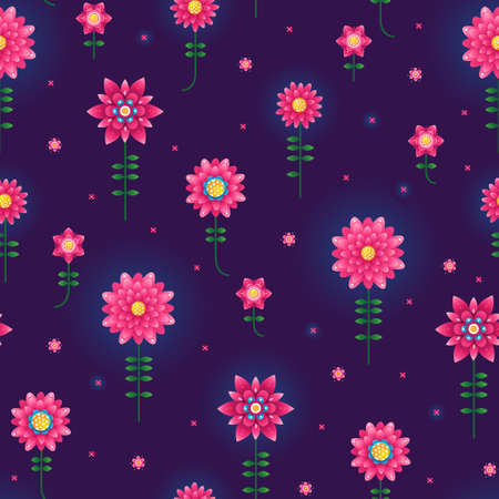 Vector seamless pattern with fluorescence flowers. Psychedelic illustration. Floral ornament. Acid color elements for fashion prints. Flickering magical flowers in space. Neon color. Repeating texture.