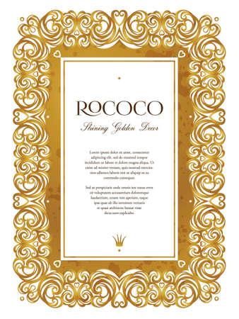 Vector vintage frame; ornate floral vignette for design certificate template. Victorian style gold border. Elegant golden motifs. Ornamental decoration for booklet, card, leaflet, flyer, layout. Vektoros illusztráció