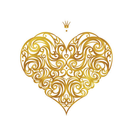 Ornate vector heart in Victorian style. Elegant element. Rococo decoration. Romantic floral illustration for wedding invitations, greeting cards, Valentines cards. Golden outline pattern.