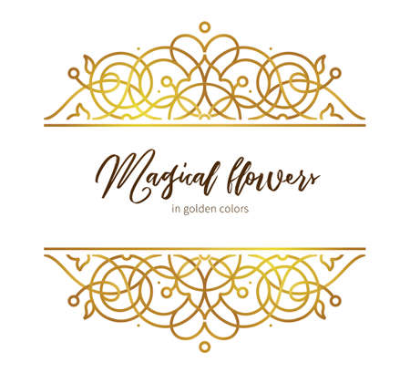 Vector golden element, decoration for design template. Luxury ornament in Eastern style. Premium floral illustration. Ornate decor, frame for invitation, card, thank you message, label, badge, tag.