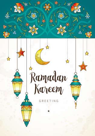 矢量斋月卡里姆卡。为斋月许愿而挂着灯笼的复古横幅。阿拉伯的灯光,月亮,星星。东方风格的装饰。伊斯兰背景。穆斯林斋月节日的卡片。