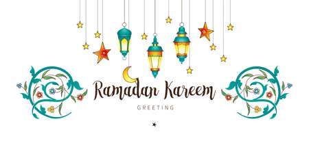 Vector tarjeta de Ramadán Kareem. Banner vintage con linternas para el Ramadán que deseen. Lámparas árabes brillantes, luna, estrellas. Decoración en estilo oriental. Fondo islámico. Tarjetas para la fiesta musulmana del mes santo del Ramadán. Ilustración de vector