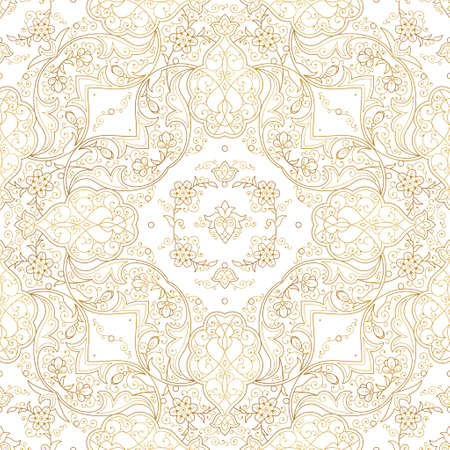 Vintage design element in Eastern style. Vector seamless pattern with floral ornament. Ornamental lace tracery. Golden ornate illustration for wallpaper. Traditional arabic outline decor on white background.