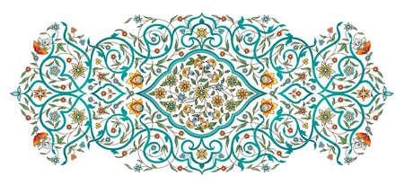 Vektorelement, Arabeske für Designvorlage. Luxusornament im östlichen Stil. Türkisfarbene Blumenillustration. Kunstvolles Dekor für Einladung, Grußkarte, Tapete, Hintergrund, Webseite.