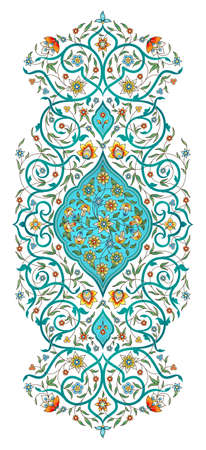 Élément de vecteur, arabesque pour modèle de conception. Ornement de luxe de style oriental. Illustration florale turquoise. Décor fleuri pour invitation, carte de voeux, papier peint, arrière-plan, page web. Vecteurs