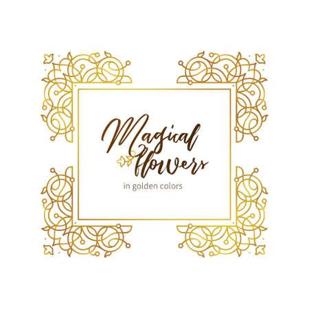 Vector elemento dorado, marco cuadrado para plantilla de diseño. Adorno de lujo en estilo oriental. Ilustración floral premium. Decoración adornada, borde de invitación, diseño de tarjetas, etiquetas, distintivos, etiquetas.