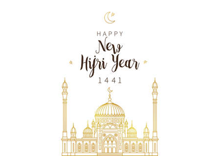 Muslim holiday Happy New Hijri Year 1441. Vector card with calligraphy, gold outline mosque, crescent for celebration. Islamic greeting illustration. Golden decoration in Eastern style.