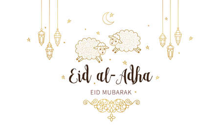 Vector muslim holiday Eid al-Adha card. Banner with sheep, golden outline decoration, lanterns, calligraphy for happy sacrifice celebration. Islamic illustration. Traditional holiday. Decoration in Eastern style. Stock Illustratie