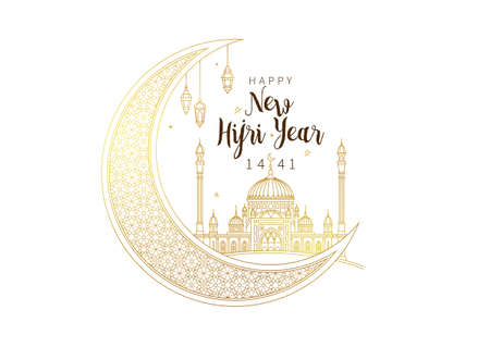 Muslim holiday Happy New Hijri Year 1441. Vector card with gold outline crescent, calligraphy, mosque, lanterns for celebration. Islamic greeting illustration. Golden decoration in Eastern style. Ilustrace
