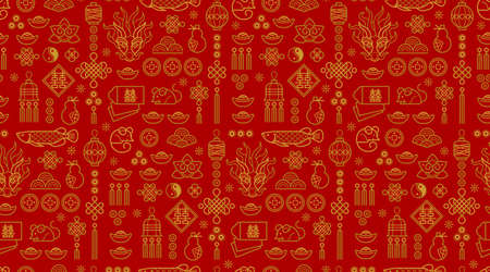 Vector seamless pattern with outline illustration of Chinese style design elements on red background. Rat zodiac sign, symbol of 2020 on the Chinese calendar.