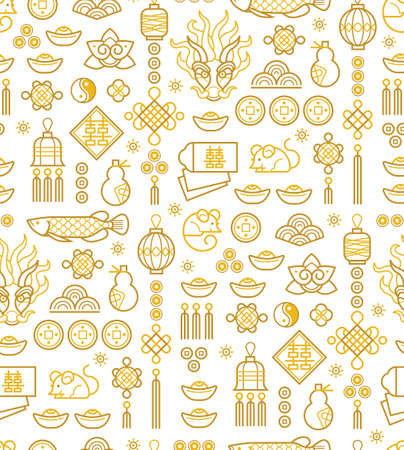 Vector seamless pattern with outline illustration of Chinese style design elements on white background. 向量圖像