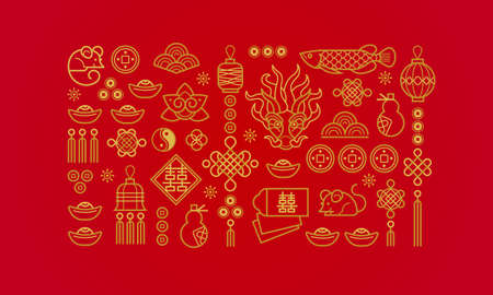 Vector banner with a outline illustration of the design elements on red background. Rat zodiac sign, symbol of 2020 on the Chinese calendar. 向量圖像