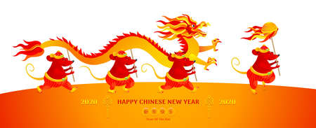 Vector banner with a illustration of Rat zodiac sign performing a Dragon Dance. White Metal Rat, symbol of 2020 on the Chinese calendar. Chinese spring festival.