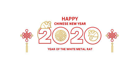 Vector banner, money envelope with a illustration of the rat zodiac sign, symbol of 2020 on the Chinese calendar. White Metal Rat, chinese lucky in New Year. Element for Chinese New Years design.