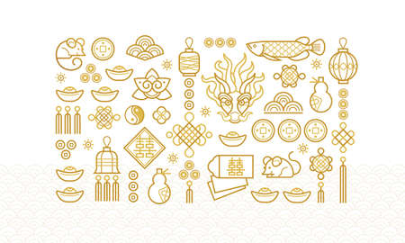 Vector icons, outline illustration of the design elements. Fish, dragon, lantern, calabash, Chinese coin. Rat zodiac sign, symbol of 2020 on the Chinese calendar. White Metal Rat, chine lucky.