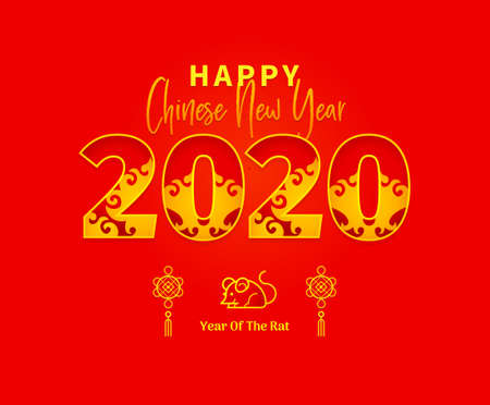Bright vector banner with Happy New Year 2020   text design in Chinese style. Illustration of Rat zodiac sign, symbol of 2020 on the Chinese calendar. Chinese elements for New Year's design. 스톡 콘텐츠 - 130160618