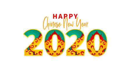 Vector banner with Happy New Year 2020   text design in Chinese style. Cover design template, card, poster. Bright illustration with Сhinese pattern. Isolated on white background.