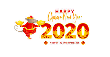 Vector banner with a illustration of Rat zodiac sign, symbol of 2020 on the Chinese calendar. White Metal Rat, chine lucky. Chinese elements for New Years design. Illusztráció