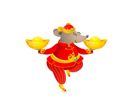 Vector banner with a illustration of Rat zodiac sign, symbol of 2020 on the Chinese calendar. Dancing mouse in traditional Chinese costume, gold ingots. White Metal Rat. Chinese elements for New Year. Illusztráció