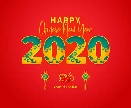 Bright vector banner with Happy New Year 2020  text design in Chinese style. Illustration of Rat zodiac sign, symbol of 2020 on the Chinese calendar. Chinese elements for New Years design.