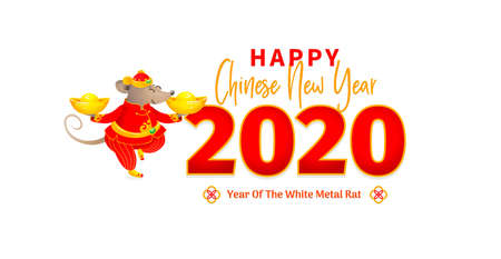 Vector banner with a illustration of Rat zodiac sign, symbol of 2020 on the Chinese calendar. Dancing mouse in traditional Chinese costume, gold ingots. White Metal Rat. Chinese elements for New Year. 일러스트