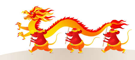 Vector banner with a illustration of Rat zodiac sign performing a Dragon Dance. White Metal Rat, symbol of 2020 on the Chinese calendar. Chinese elements for New Years design. Chinese spring festival