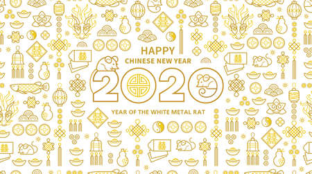 Line art vector banner with Happy New Year 2020 logo text design in Chinese style. Pattern of Chinese elements, Rat zodiac sign, symbol of 2020 on the Chinese calendar for New Years design. 向量圖像