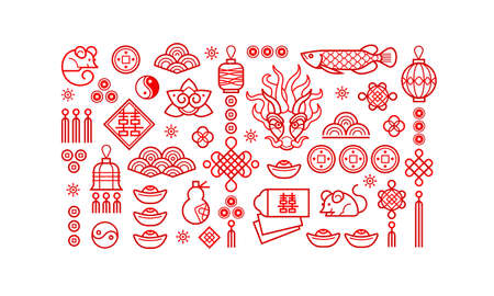 Vector set of red icons for design elements on Chines style. Isolated. Rat zodiac sign, symbol of 2020 on the Chinese calendar. White Metal Rat, dragon, lucky coins, lanterns, lucky knots.  向量圖像
