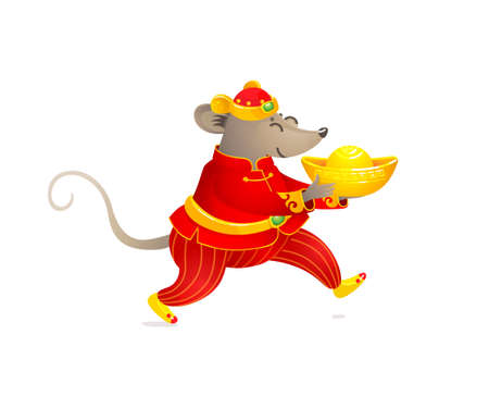 Vector banner with a illustration of Rat zodiac sign, symbol of 2020 on the Chinese calendar. Dancing mouse in traditional Chinese costume, gold ingot. White Metal Rat. Chinese elements for New Year. 向量圖像