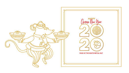 Vector line art illustration of Rat zodiac sign, symbol of 2020 on the Chinese calendar in lineart style. Dancing mouse in traditional Chinese costume, gold ingots. White Metal Rat. Chinese elements for New Year. Stock Illustratie