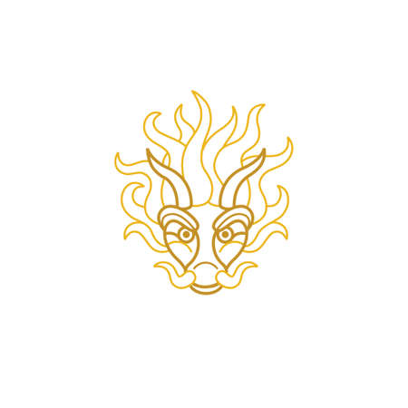 Illustration of a head Gold Dragon in a lineart style. Vector icon for design logo template. Isolated on white background.