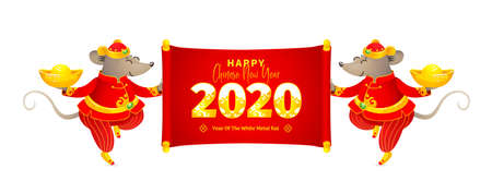 Vector banner with a illustration of Rat zodiac sign, symbol of 2020 on the Chinese calendar. Dancing mice in traditional Chinese costume, gold ingots, scroll with New Year greetings in Chinese style