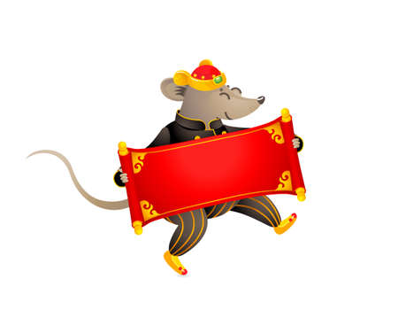 Vector illustration of Rat zodiac sign, symbol of 2020 on the Chinese calendar. Dancing mouse in traditional Chinese costume, red scroll for greeting text. White Metal Rat. Chinese elements for New Year. Stock Illustratie
