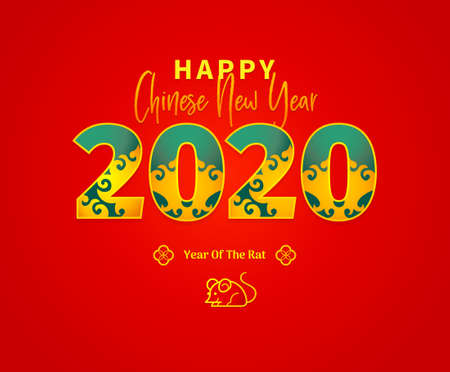 Bright vector banner with Happy New Year 2020 logo text design in Chinese style. Red illustration with Rat zodiac sign, symbol of 2020 on the Chinese calendar. Chinese elements for New Years design.
