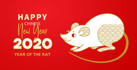 Vector banner with a illustration of the rat zodiac sign, symbol of 2020 on the Chinese calendar, isolated on red background. White Metal Rat, chine lucky. Element for New Years design in Chinese style.