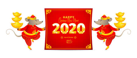 Vector banner with a illustration of Rat zodiac sign, symbol of 2020 on the Chinese calendar. Dancing mice in traditional Chinese costume, gold ingots, paper with New Year greetings in Chinese style