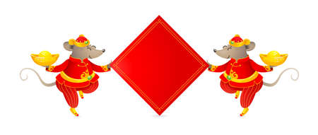 Vector banner with a illustration of Rat zodiac sign, symbol of 2020 on the Chinese calendar. Dancing mouse in traditional Chinese costume, gold ingots, red paper for greeting text. White Metal Rat. Stock Illustratie