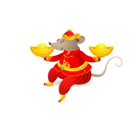 Vector banner with a illustration of Rat zodiac sign, symbol of 2020 on the Chinese calendar. Sitting mouse in traditional Chinese costume, gold ingots. White Metal Rat. Chinese elements for New Year. Stock Illustratie