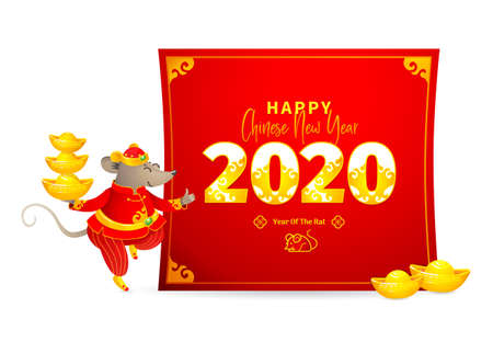 Vector banner with a illustration of Rat zodiac sign, symbol of 2020 on the Chinese calendar. Dancing mouse in traditional Chinese costume, gold ingots, paper with New Year greetings in Chinese style