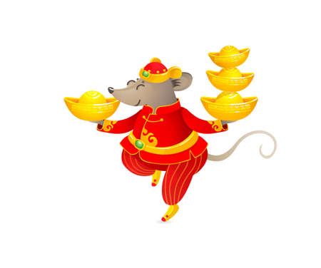Vector banner with a illustration of Rat zodiac sign, symbol of 2020 on the Chinese calendar. Dancing mouse in traditional Chinese costume, gold ingots. White Metal Rat. Chinese elements for New Year. Stock Illustratie