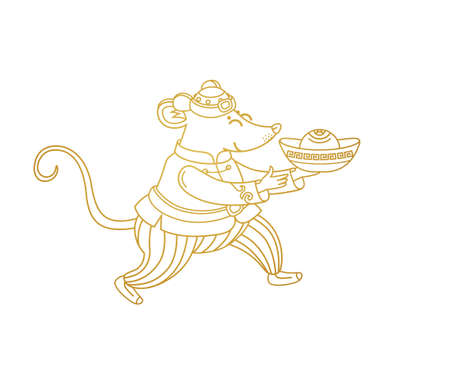 Vector illustration of Rat zodiac sign, symbol of 2020 on the Chinese calendar in lineart style. Dancing mouse in traditional Chinese costume, gold ingots. White Metal Rat. Chinese element for New Year.