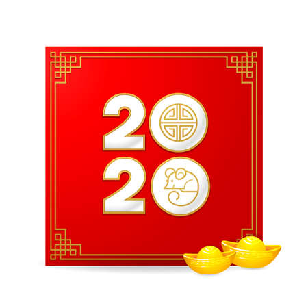Bright vector banner with Happy New Year 2020 logo text design in Chinese style. Illustration of Rat zodiac sign, symbol of 2020 on the Chinese calendar. Gold ingots. Chinese elements for New Years design. Stock Illustratie