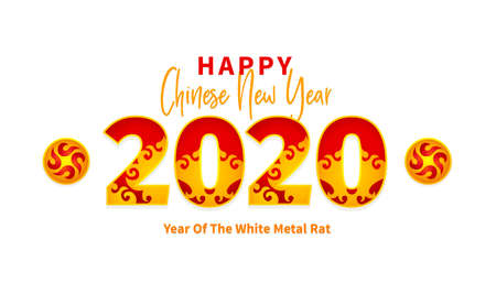 Bright vector banner with Happy New Year 2020 logo text design in Chinese style. Isolated  illustration of Rat zodiac sign, symbol of 2020 on the Chinese calendar. Chinese elements for New Years design.