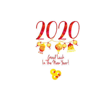 Greeting card with Good luck wishing in the New Year. Vector banner with a illustration of 2020 on the Chinese calendar. Traditional Chinese gold coins,  ornament, lanterns. Elements for New Year