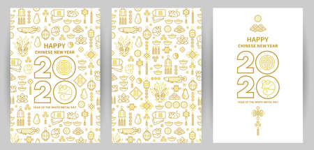 Line art vector set with Happy New Year 2020 cards text design in Chinese style. Pattern of Chinese elements, Rat zodiac sign, symbol of 2020 on the Chinese calendar for New Years design. 向量圖像