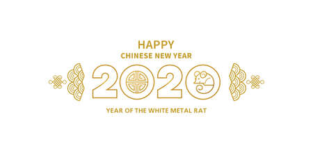 Vector banner, card, money envelope with a illustration of the rat zodiac sign, symbol of 2020 on the Chinese calendar. White Metal Rat, chinese lucky in New Year. Element for Chinese New Years design.