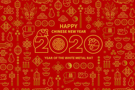 Line art vector banner with Happy New Year 2020 text design in Chinese style. Red pattern of Chinese elements, Rat zodiac sign, symbol of 2020 on the Chinese calendar for New Years design.