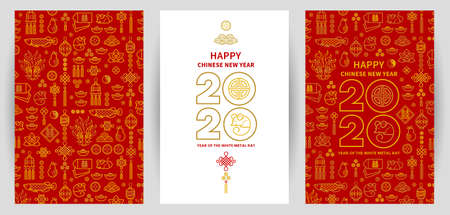 Linia sztuki wektor zestaw z kartami szczęśliwego nowego roku 2020, projekt tekstu w stylu chińskim. Wzór chińskich elementów, znak zodiaku Szczur, symbol 2020 na chińskim kalendarzu na projekt noworoczny.