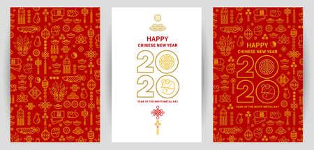 Linienkunstvektorsatz mit Karten des guten Rutsch ins Neue Jahr 2020, Textdesign im chinesischen Stil. Muster chinesischer Elemente, Tierkreiszeichen Ratte, Symbol von 2020 auf dem chinesischen Kalender für das Neujahrsdesign.
