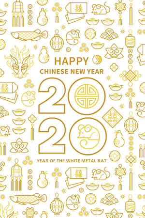 Line art vector banner with Happy New Year 2020  text design in Chinese style. Pattern of Chinese elements, Rat zodiac sign, symbol of 2020 on the Chinese calendar for New Years design.